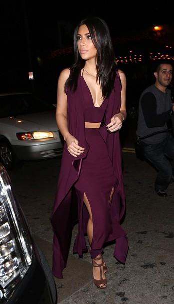kim kardashian plum cardigan bodycon skirt crop tops slit skirt jumpsuit slit maxi skirt