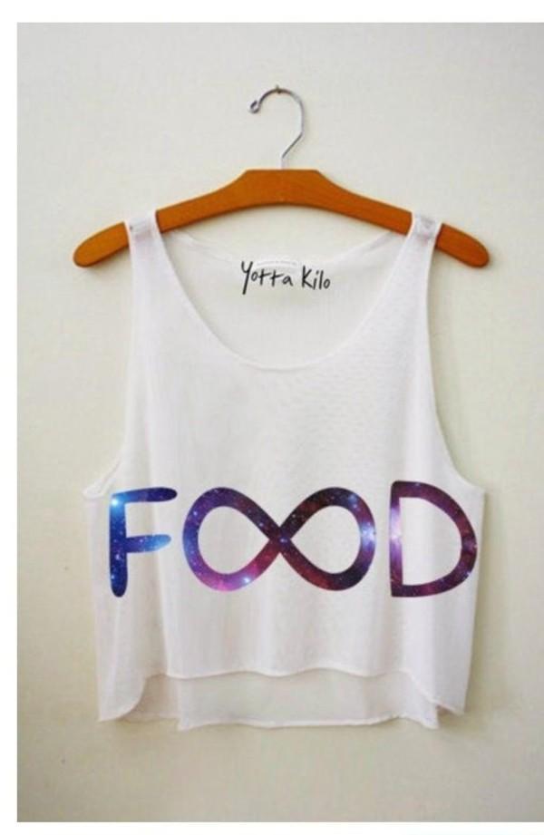 shirt crop tops galaxy print white infinity