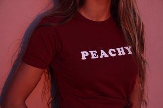 shirt burgundy peachy t-shirt burgundy top peachy shirt red peach top tank top white tumblr 70s style american apparel red top