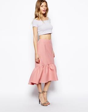 ASOS | ASOS Peplum Hem Pencil Skirt In Texture at ASOS
