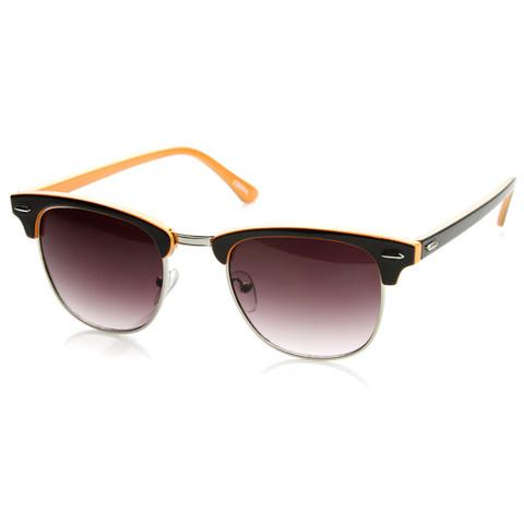 Retro Two Tone Colorful Half Frame Clubmaster Wayfarer Sunglasses 9182                             zeroUV