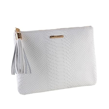White All in One Bag   Embossed Python Leather   GiGi New York