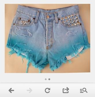 shorts denim vintage studded shorts dip dyed denim vintage levis