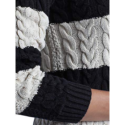 Buy Mango Cable Knit Striped Jumper, Navy/Cream online at John Lewis