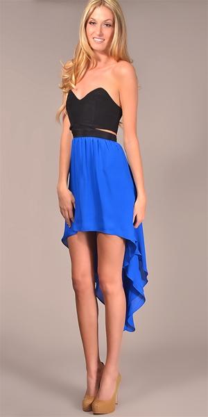 Jennifer Hope - Strapless Cut Out High Low Dress - Black/ Cobalt - Big Drop NYC
