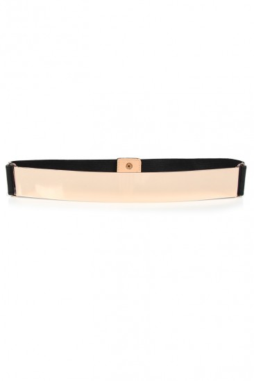 LoveMelrose.com From Harry & Molly | Gold Plate Belt - Gold / Black