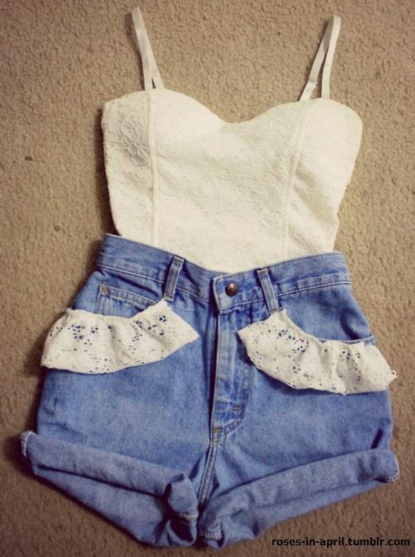 t-shirt white lace pretty shorts tank top