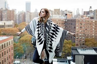 the blonde salad blogger jeans jewels bag blanket scarf poncho