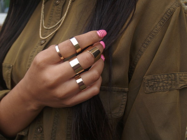 Jewels ring set ring gold copper metal knuckle ring band