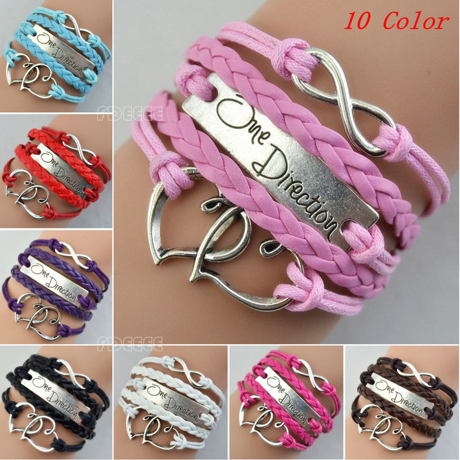 One Direction Love Heart Hand-knitted Leather Charms Chain Bracelet Gift BE0377 | eBay