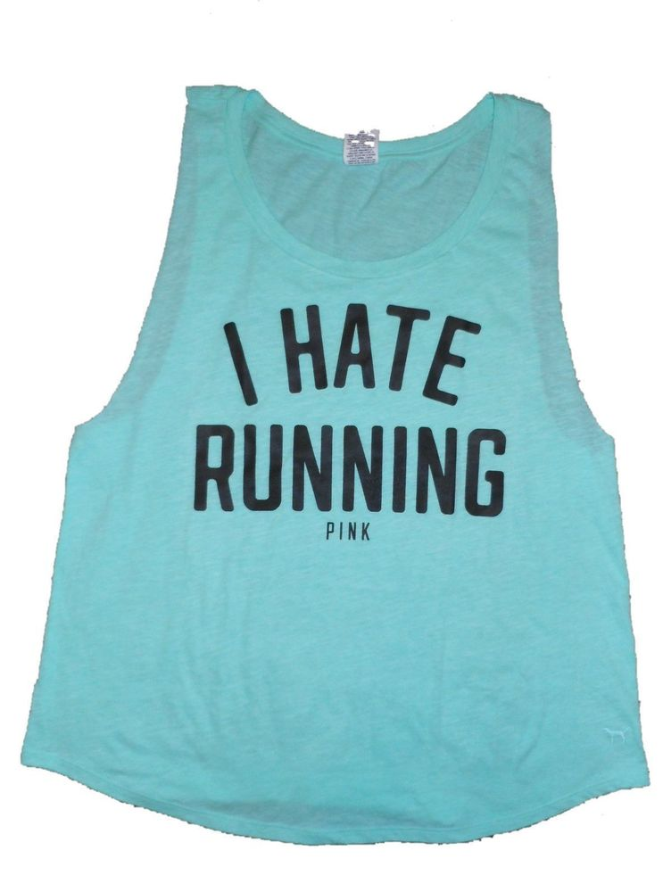 Victoria's Secret Pink I Hate Running Small Tank Top T Shirt Workout Yoga | eBay