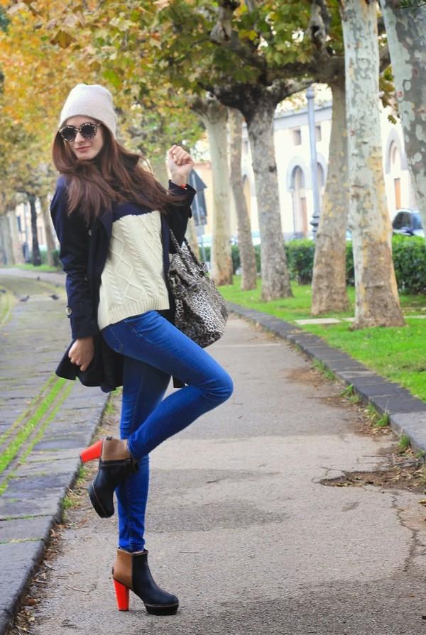 marie zamboli jeans hat sweater bag coat sunglasses