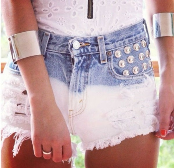shorts dip dyed dip dyed shorts studded shorts studs denim shorts denim High waisted shorts broderie anglaise top crop tops white white top bustier