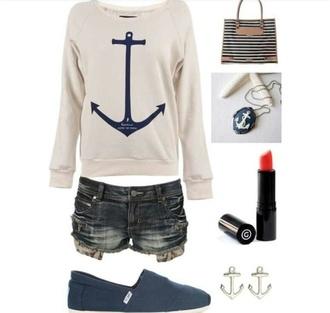 sweater clothes anchor hiptser blu blue shorts jewels