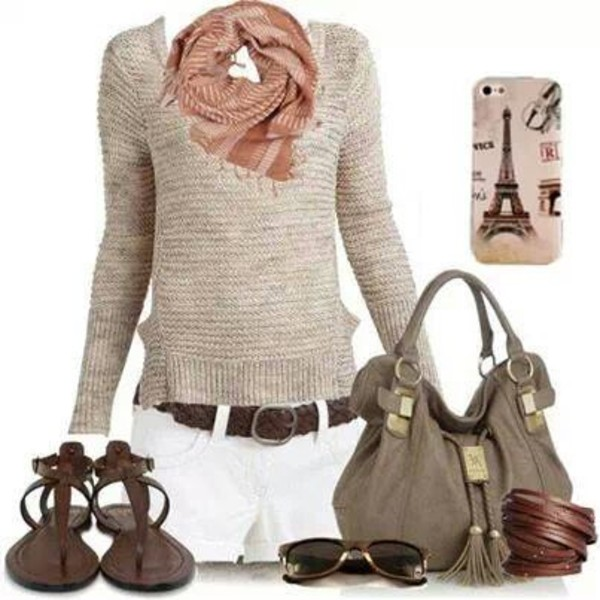 sweater scarf shorts