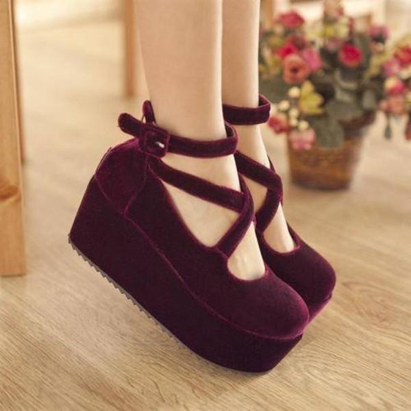 shoes velvet cute platform shoes