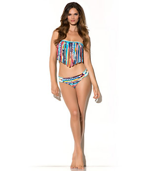 Lucky Brand Guatemala Beach Fringe Bandeau Top & Tab-Side Hipster Bottom 					 				 			 | Dillard's Mobile