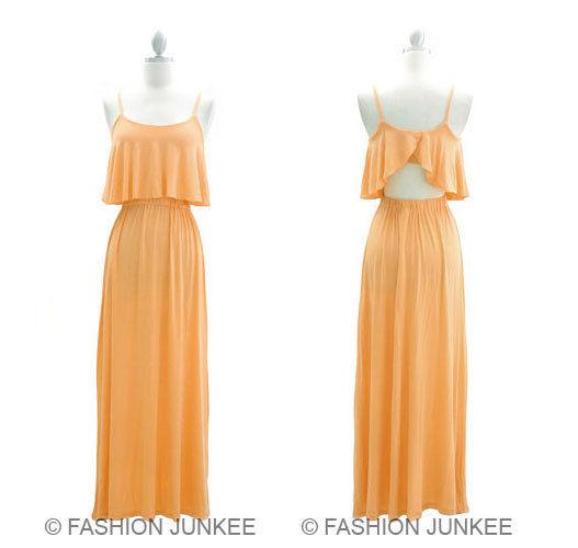 Peach Coral Overlay Maxi Dress Long Full Length Jersey Flowy Open Back New S | eBay