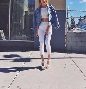 white girl summer denim denim jacket wedges clothes fashion cropped pants shirt white sandals pants cute high waisted hipster pretty crop tops sandals indie shoes jeans instagram tumblr girl summer outfits spring outfits jacket outfit