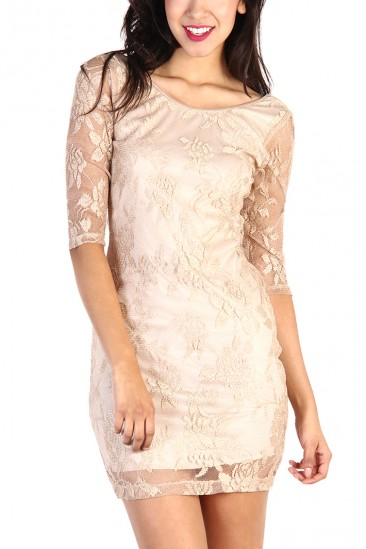 LoveMelrose.com From Harry & Molly   Metallic Gold Lace Overlay Dress