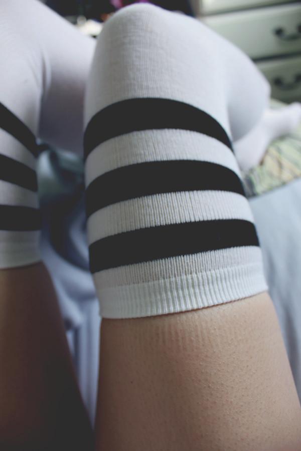 pants socks black and white sportswear