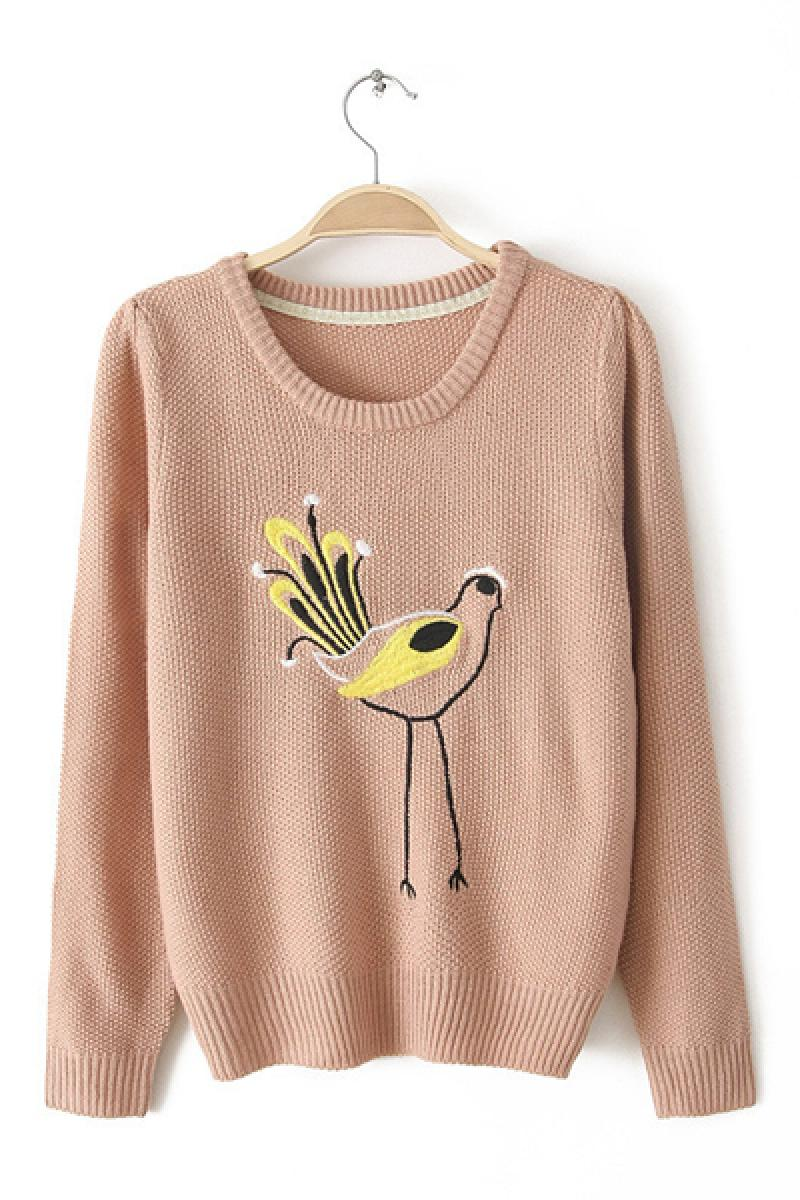 Loose Long Sleeve Bird Embroidery Pullover Knitwear,Cheap in Wendybox.com