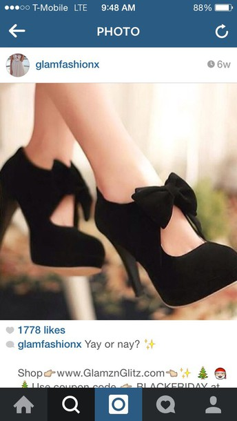 shoes black pumps thick heel with bow