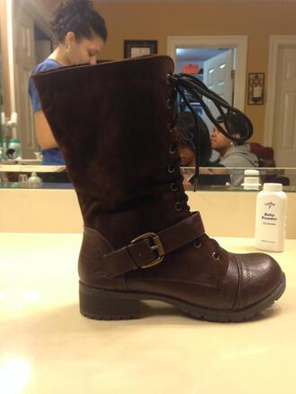 shoes combat boots dark brown low heel