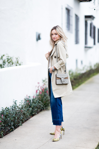 late afternoon blogger coat tank top shoes bag jewels trench coat gucci bag high heel pumps pumps