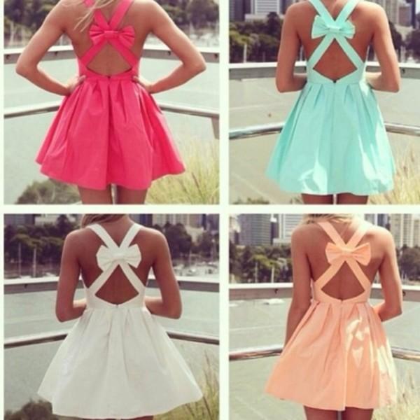 dress backless dress white dress pink dress bows turquoise cute dress summer dress summer outfits