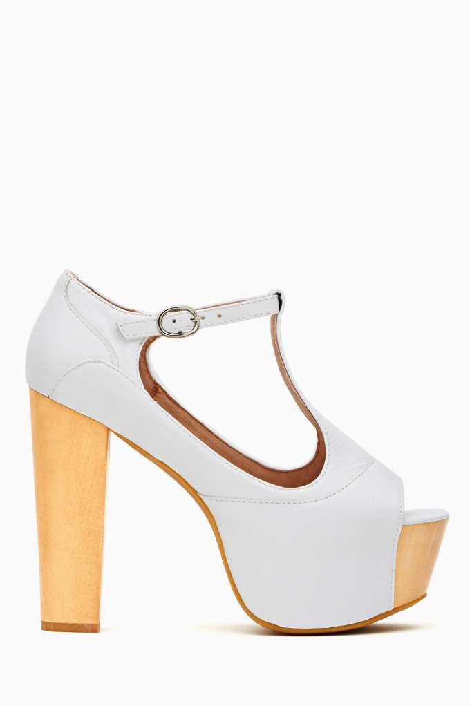 Jeffrey Campbell Foxy Wood Platform - White in  Shoes Heels at Nasty Gal