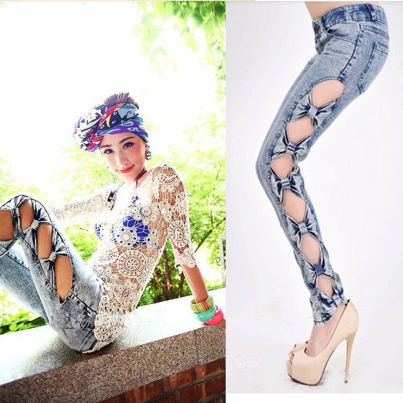 Vintage Detailed Women Side Bow Cutout Ripped Denim Jeans Jeggings New Sexy | eBay