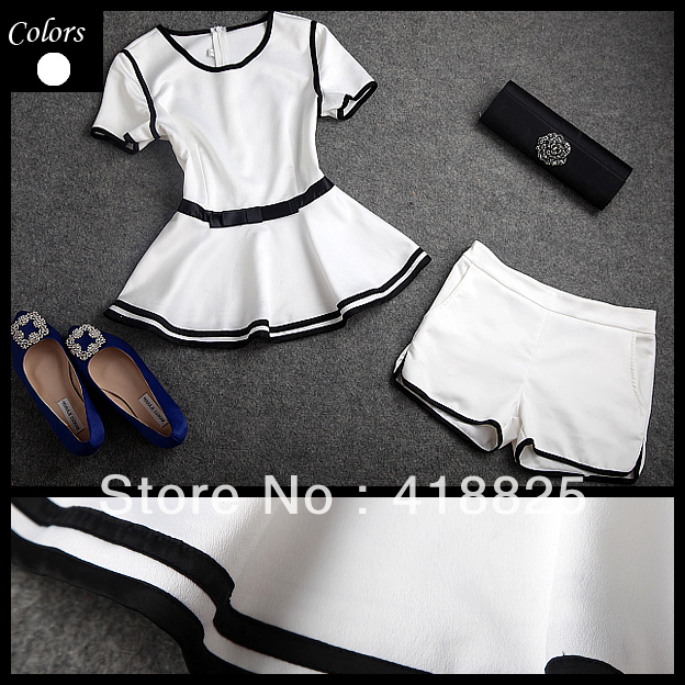 2013 spring summer designer new womens clothing set white ruffle waist black waistband top shorts set fashion brand clothing set-in Blazer & Suits from Apparel & Accessories on Aliexpress.com