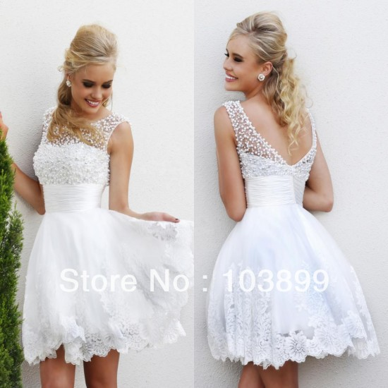 Innovative Design 2014 A line White Organza Short Above Knee See Through Backless Appliques Sparkle Pearls Prom Dress-in Prom Dresses from Apparel & Accessories on Aliexpress.com