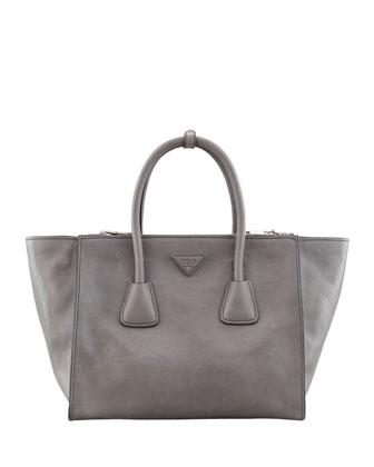Prada Glace Calf Large Twin Pocket Tote Bag, Gray - Neiman Marcus