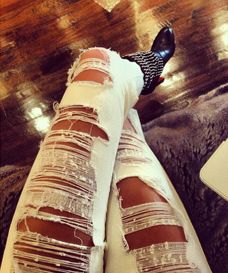 jeans denim white stripes scartched boots luxury fashion shopping shoes ripped jeans