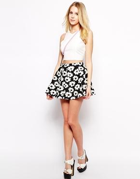 Fashion Union | Fashion Union Scuba Skirt In Daisy Print at ASOS