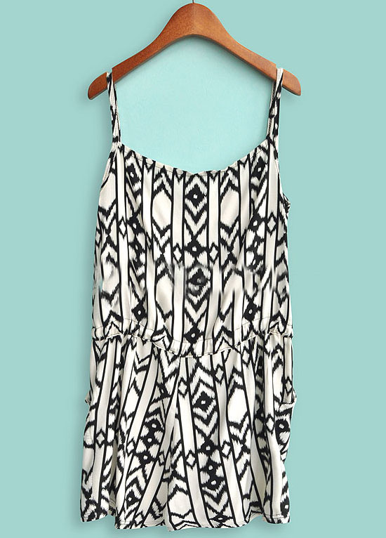 White and Black Tribal Geometric Print Straps Jumpsuit - Sheinside.com