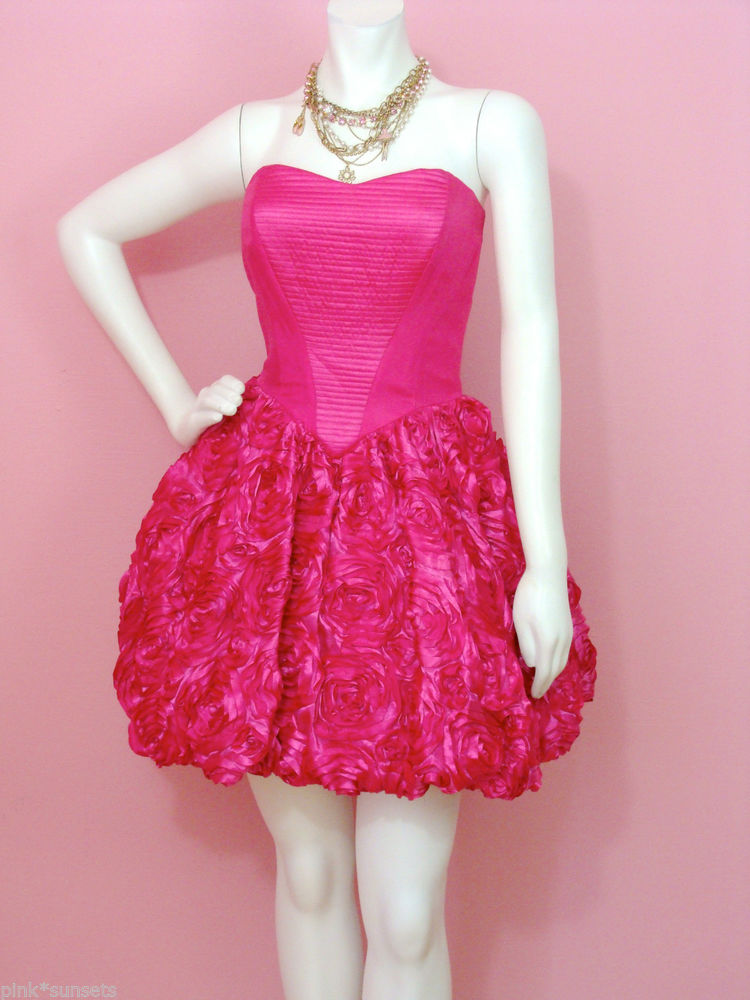 Betsey Johnson Rose Topiary Strapless Dress 4 6 10 Pink Prom Homecoming Cocktail | eBay