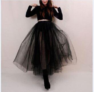 skirt clothes tulle skirt black skirt see through ballerina dress black betsey johnson all black everything
