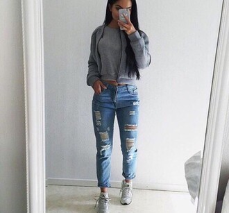 jeans ripped jeans tight roll-up