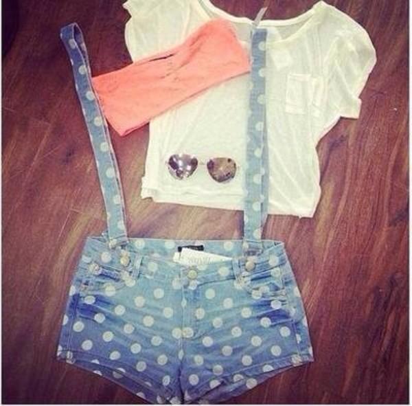 shorts white light blue denim overalls suspenders polka dots shirt underwear