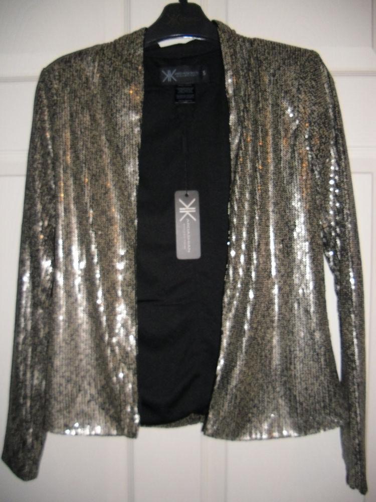 New Kardashian Kollection Collection Gold Sequin Blazer Jacket Womens Small   eBay