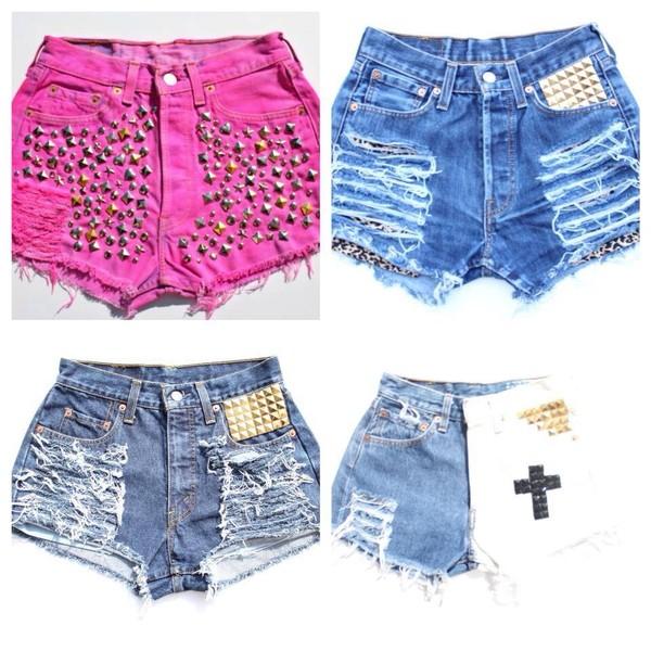shorts cross studs tie dye shorts pink shorts denim shorts
