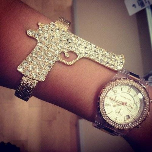 jewels gun bracelets crystal gold bracelets gunbracelet glitter shiny jewelry gun bracelet silver