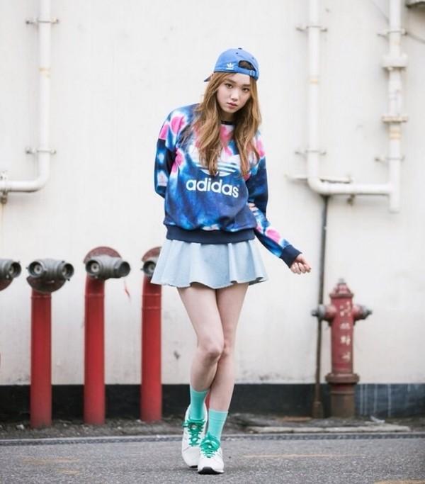 skirt adidas sweatshirt hat shoes cute sweater