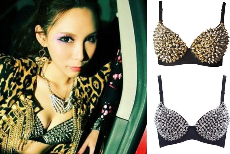 Gaga Womens Sexy Gold Silver Tone Metallic Gathers Punk Spike Studs Rivet Bra-in Bras from Apparel & Accessories on Aliexpress.com