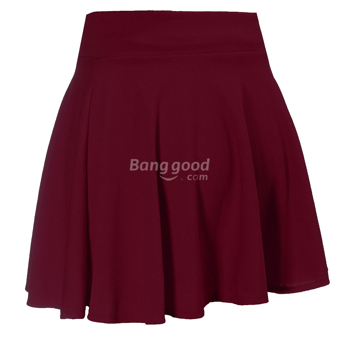 Ladies High Waist Plain Pleated Flared Mini Skater Skirt Free Shipping!  - US$5.99
