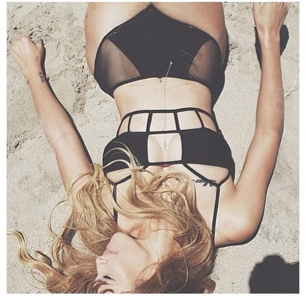 swimwear pants mesh panel black bikini