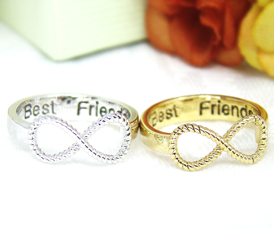 Best Friends Ring Women's Infinity Ring Engraved Ring Jewelry Gold Silver Plated | eBay